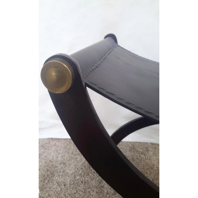 1990s Vintage Roman Leather Sling Curule Bench For Sale - Image 9 of 10