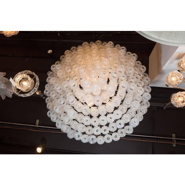 Silver Modernist Iridescent and Clear Murano Glass Barbell Chandelier For Sale - Image 8 of 9