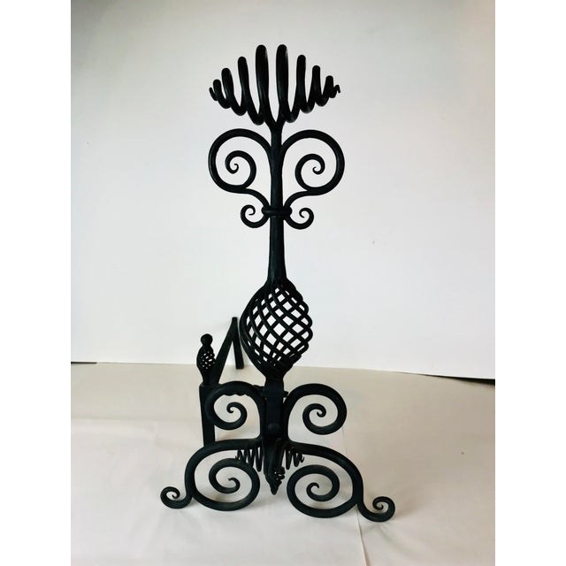 Mid Century Art and Crafts Wrought Iron Hand Frogged Iron Andirons for Fire Place - a Pair For Sale - Image 11 of 13