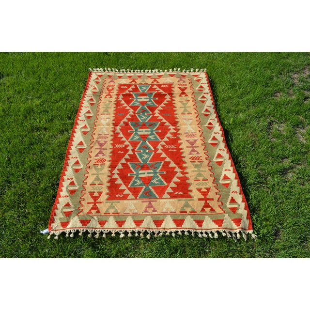 Red Handmade Kilim Geometric Design Cappadocia Red Color Kilim Rug - 3′11″ × 5′10″ For Sale - Image 8 of 8