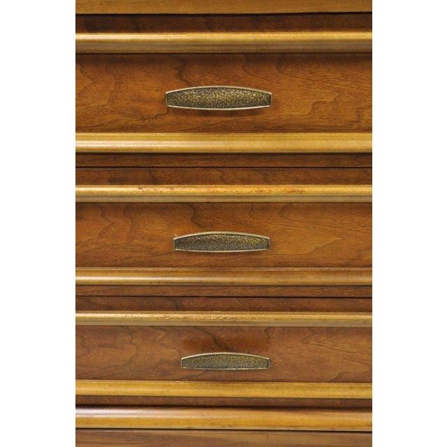 1960s Vintage Mid-Century Modern Walnut 5 Drawer Tall Dresser Highboy For Sale - Image 5 of 11