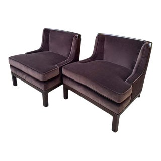 Tomlinson Style Brown Mohair Chairs - a Pair For Sale