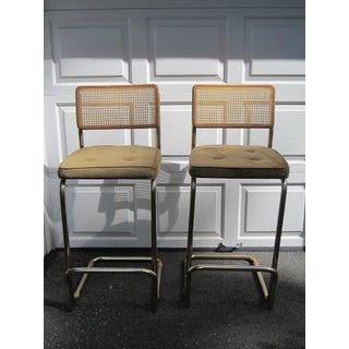 """Breuer"" Cantilever Bar Height Chairs With Caning - a Pair Preview"