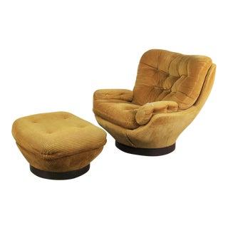 Vintage Modern Selig Swivel Chair and Ottoman Style of Joe Columbo Elda Chair For Sale