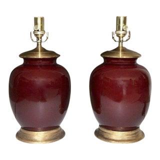 1980's Vintage Asian Oxblood Porcelain Lamps- A Pair For Sale