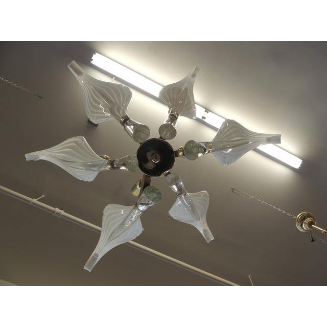 1960s Seguso White Glass Chandelier For Sale - Image 5 of 6