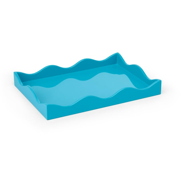 Modern Rita Konig for The Lacquer Company Small Belles Rives Tray In Splash Blue For Sale - Image 3 of 3