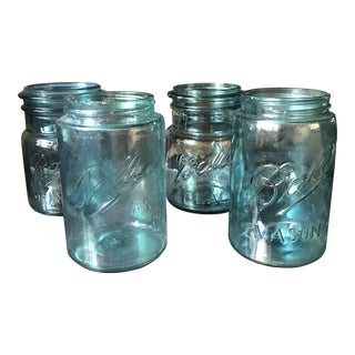 Antique Blue Glass Ball Jars - Set of 4 For Sale