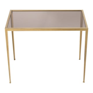 Smoked Glass Top Brass Side Table For Sale