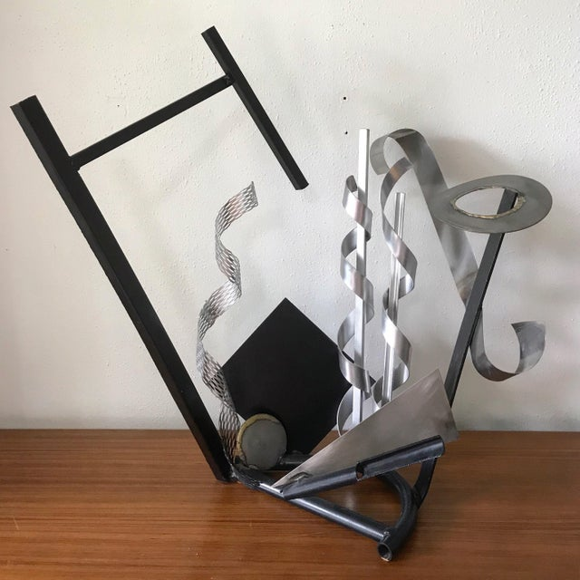 Metal Post Modern Abstract Mixed Metal Sculpture For Sale - Image 7 of 7