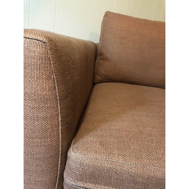 Textile 21st Century Vintage Jute Brown Slipcover Swivel Chair For Sale - Image 7 of 8