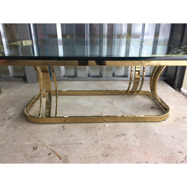 Hollywood Regency Sculptural Gold & Glass Coffee Table - Image 6 of 8