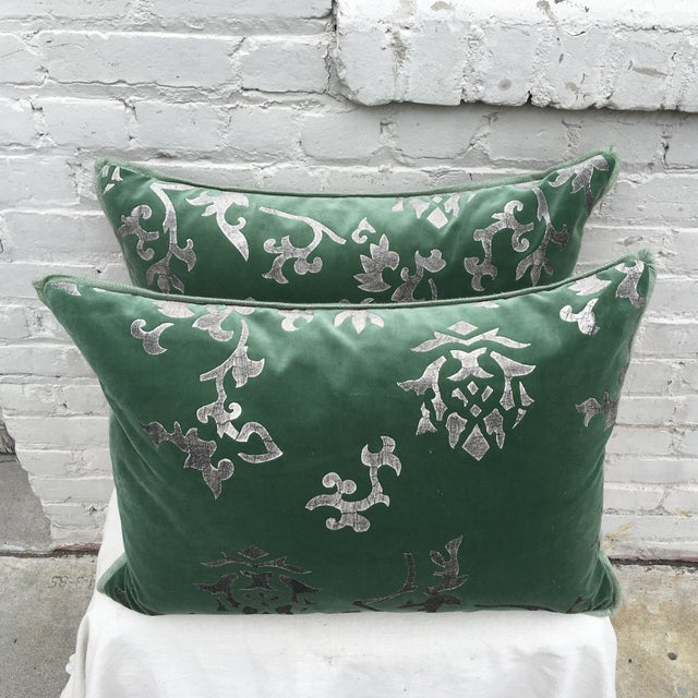 Silver Stencil Green Velvet Pillows - A Pair - Image 3 of 6