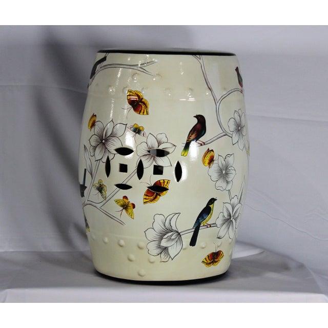 Modern Contemporary Floral Porcelain Garden Stool For Sale - Image 4 of 6