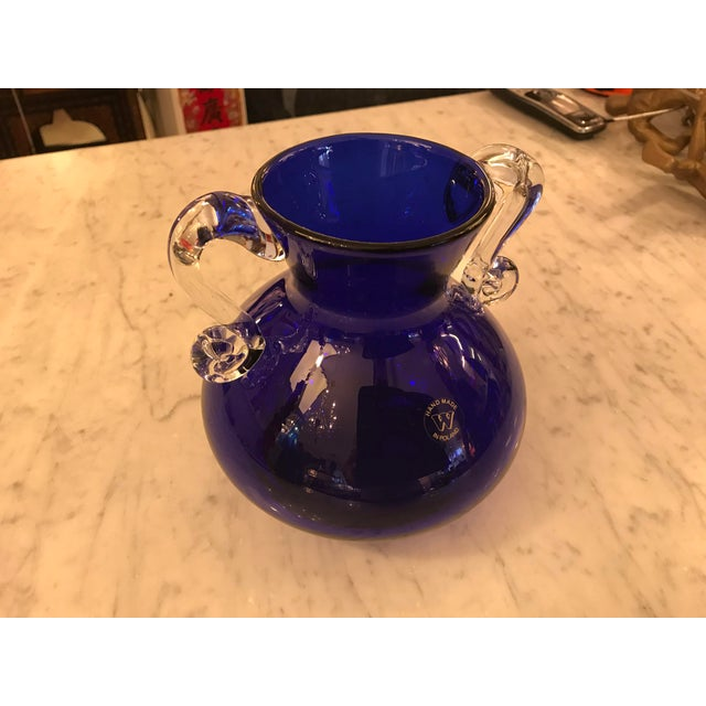 Hand-Blown Cobalt Glass Vase, W/ Clear Scrolled Handles, Poland For Sale - Image 4 of 5