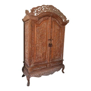 Indonesian Teak Wood Armoire For Sale