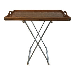 Adjustable Parquet Bar Tray Table or Coffee Table