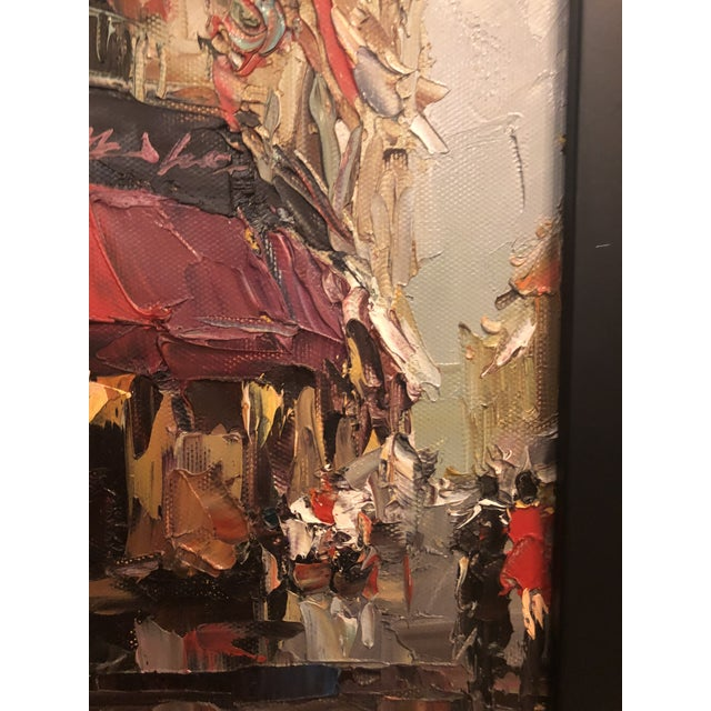 1980s Store Front Street Scene Framed Oil on Canvas Painting For Sale - Image 4 of 8