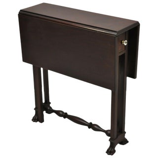 Antique Edwardian Mahogany Paw Foot Drop Leaf Side Table With Drawer For Sale