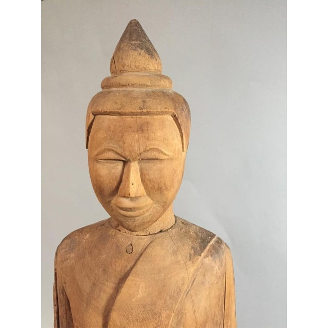 Wooden Asian Standing Eternal W/ Base. Circa late 1900s.