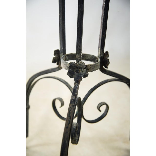 Antique Wrought Iron Copper Bowl Torchiere For Sale - Image 9 of 10