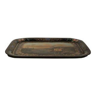 19th Century French Napoleon III Hand-Painted Tole Tray For Sale