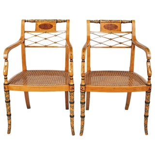 Pair of Edwardian Satinwood Armchairs For Sale