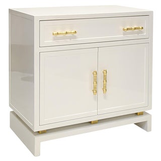 Worlds Away Marcus White Lacquer 1 Drawer, 2 Door Nightstand with Gold Leafed Bamboo Detail Metal Hardware
