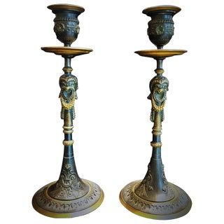 A Pair of Napoleon III French Bronze Candlesticks, Circa 1860s For Sale