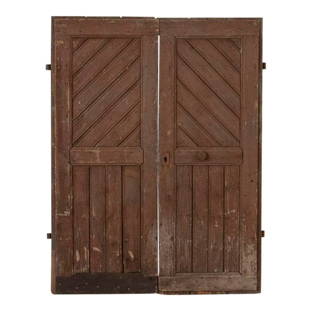 Antique Original Brown Painted Barn Doors - a Pair For Sale