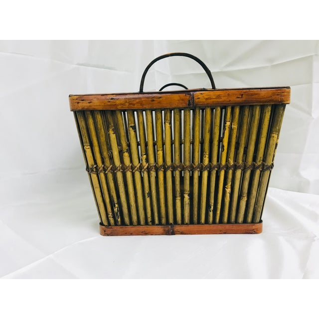 Vintage Hand Crafted Bamboo Basket For Sale - Image 4 of 10