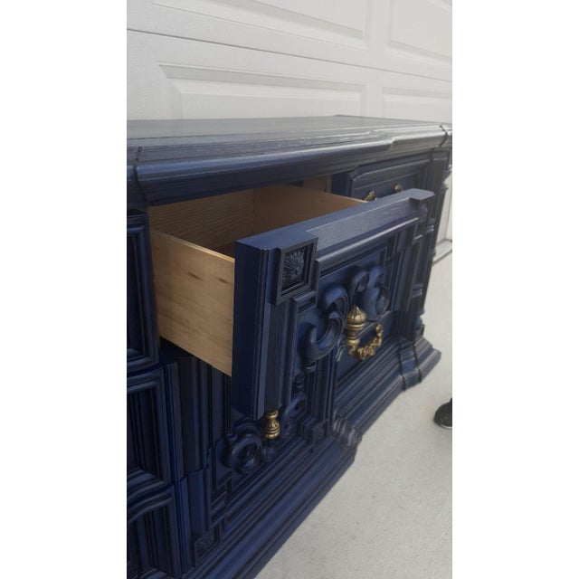 Blue Hand Painted Navy Blue Dresser For Sale - Image 8 of 8