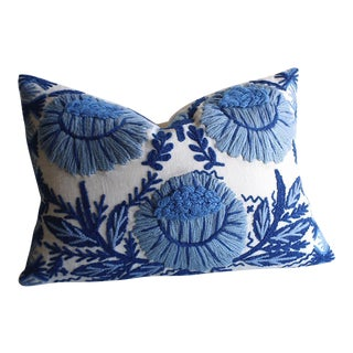 Schumacher Wool Embroidered Pillow
