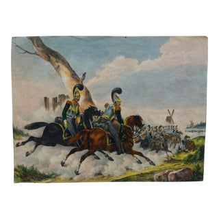 "Mid 19th Century Antique ""Charge"" Hand-Colored Print For Sale"