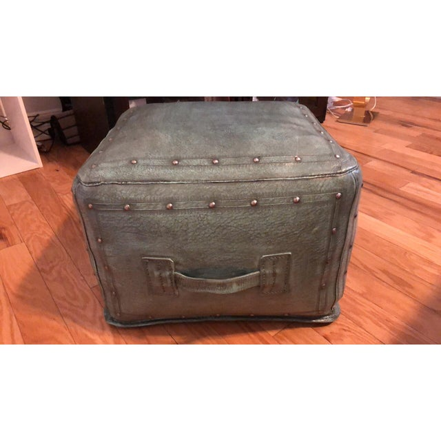 New World Trading Company Lo12 Distressed Turquoise Leather Ottoman/Pouf For Sale In Saint Louis - Image 6 of 6