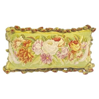 Antique Floral Aubusson Tasseled Pillow For Sale