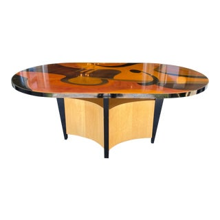 Benjamin Le Axi Furniture Handcrafted Inlaid Dyed Race Track Table For Sale