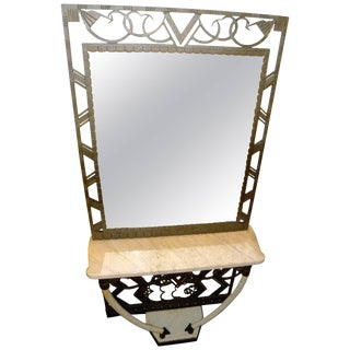 Art Deco Iron Console With Matching Mirror and Marble Tusks For Sale