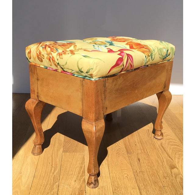 Antique Biedermeier Footstool With Yellow Floral Seat For Sale - Image 4 of 6