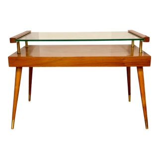 Mid Century Two Tiered Teak Wood With Glass Table For Sale