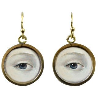 19th Century Lover's Eye Victorian Earrings With Engraved Shields For Sale