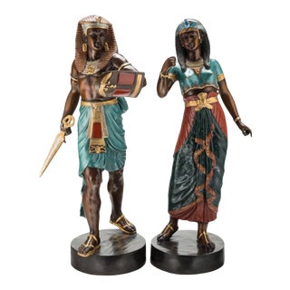 19th Century French Emile Louis Picault Egyptian Pharaoh Cold Painted Bronze Sculptures - a Pair For Sale