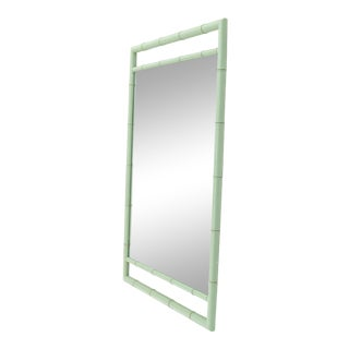 Rectangular Blue Lacquer Faux Bamboo Mirror by Kittinger Mandarin Collection For Sale