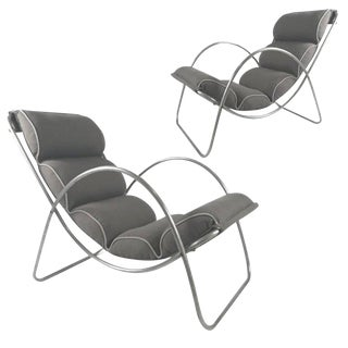 Pair of Halliburton Lounge Chairs, 1930s Art Deco Machine Age Modernist Design For Sale