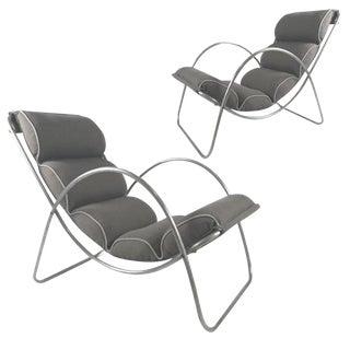 Pair of Halliburton Lounge Chairs, 1930s Art Deco Machine Age Modernist Design For Sale