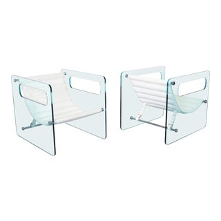 "Italian ""Naked Glass Lounge Chairs by Giovanni Tommaso - a Pair For Sale"