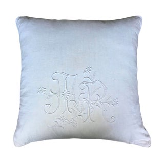 19th Century French Linen Monogrammed Pillow For Sale