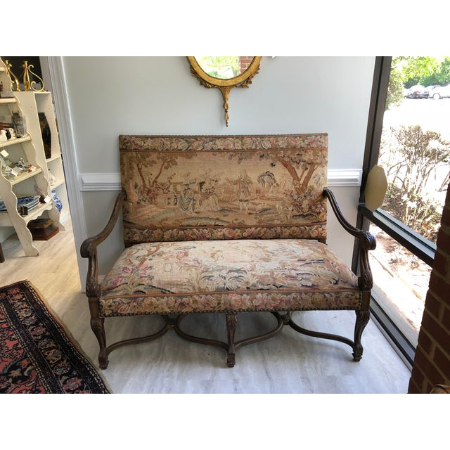 Louis XIV Style Giltwood Settee For Sale - Image 13 of 13