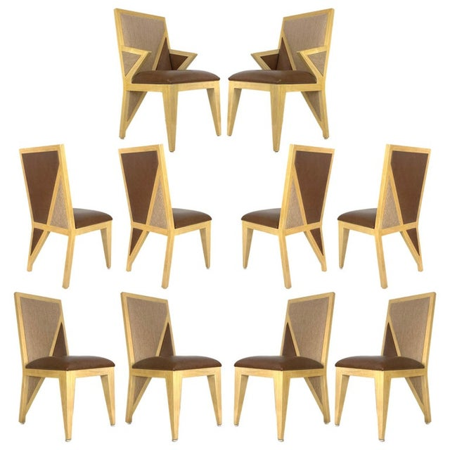 Custom Postmodern Memphis Style Blonde Wood Dining or Occasional Chairs - Set of 10 For Sale - Image 12 of 12