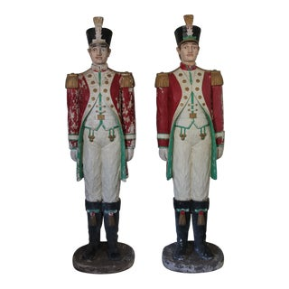 Christmas Decorations - Patinated Christmas Soldiers - a Pair For Sale